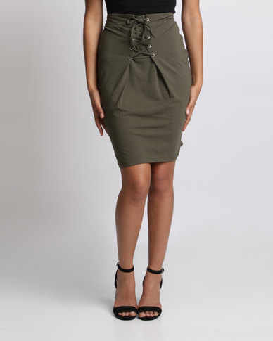 Utopia Pencil Skirt With Lace Up Trim Olive