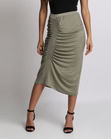 Utopia Ruched Skirt Olive
