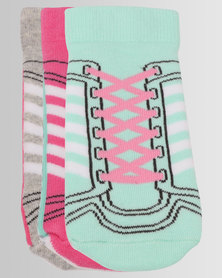 adidas 3 Pack Multi Socks Pink