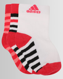 adidas 3 Pack Multi Socks Red