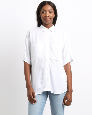 YAYA Blouse Safari Pockets White