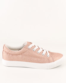 New Look Girl Marbs Glitter Lace Up Rose Gold