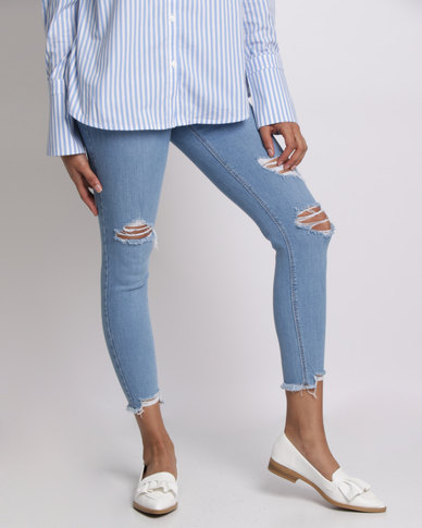 latest trends value for money special price for New Look Ripped Fray Hem Skinny Jenna Jeans Blue