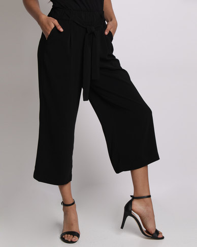 New Look Tie Waist Culottes Black