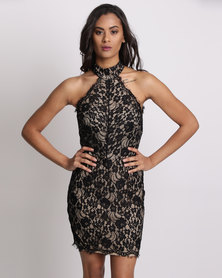 New Look Lace Funnel Neck Bodycon Dress Black