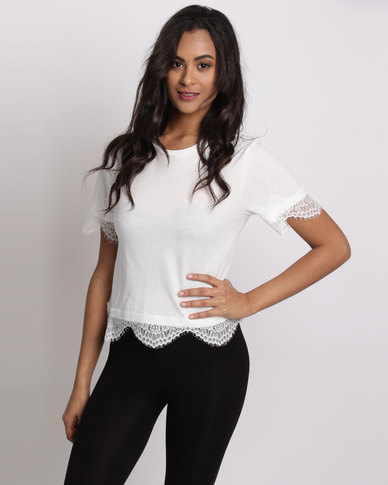 New Look Scallop Lace Hem T-Shirt White
