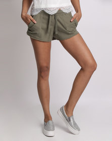 New Look Double Pocket Jersey Shorts Khaki