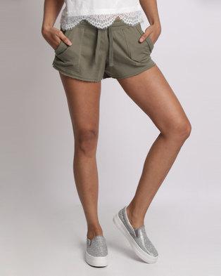 New Look Double Pocket Jersey Shorts Khaki