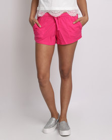 New Look Double Pocket Jersey Shorts Bright Pink