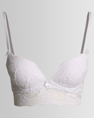 New Look Daisy Lace Longline Bra White