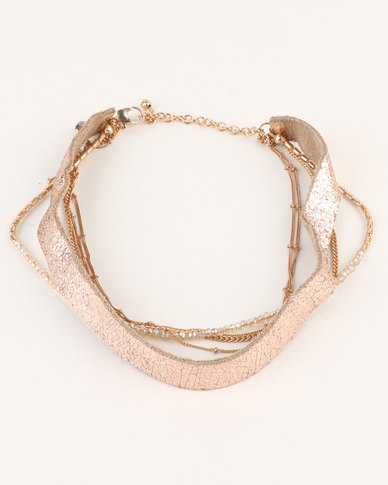 New Look UL Crackled Leather LYR Choker Gold-tone