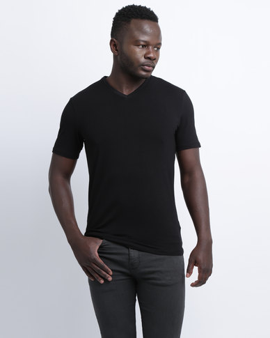 a2cea2348f3da New Look Cotton Stretch V-Neck Black