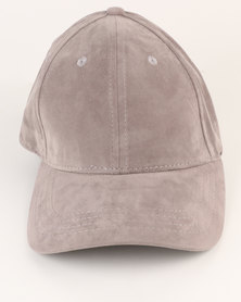 New Look Suedette Curved Peak Cap Grey