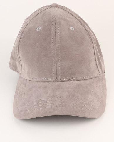 New Look Suedette Curved Peak Cap Grey