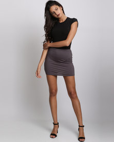 UB Creative Viscose Lycra Mini Skirt Grey