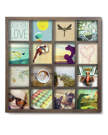 UMBRA Aged Wall Grid Art Photo Display Brown