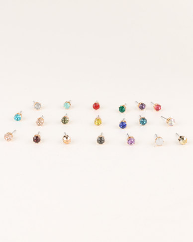 3271edd81 New Look 20 Pack Multi Coloured Gem Stud Earrings | Zando
