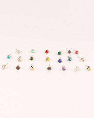 New Look 20 Pack Multi Coloured Gem Stud Earrings