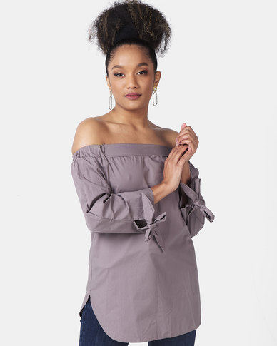 Utopia Cotton Off Shoulder Top With Ties Grey