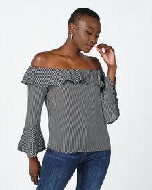 Utopia Stripe Chiffon Ruffle Off Shoulder Top Black/White
