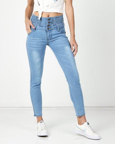 Utopia High Waisted Skinny Jeans Light Blue