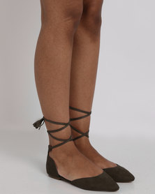 Utopia Tie Up Pointy Flat Olive