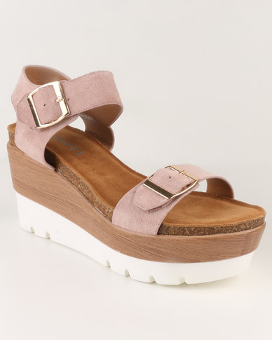 Utopia Utopia Buckle Wedge Sandals Pink/Brown discount best bSWf2G