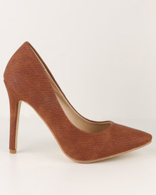 Utopia Pointy Court Shoes Tan