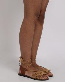 Utopia Crochet Flat Sandal Tan