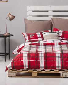 Pierre Cardin Merci Stripe Duvet Cover Set Red