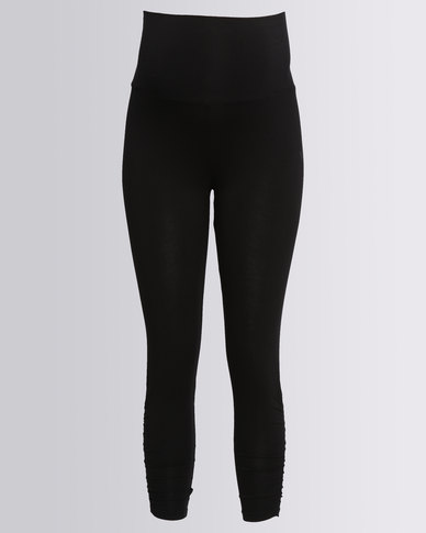 Me-A-Mama Ruched Leggings Black