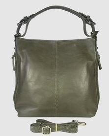 Icon Leather Side Zip Hobo Handbag Taupe