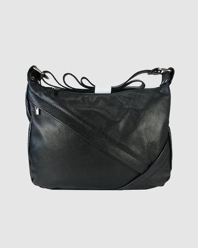 Icon Leather Oblique Zip Leather Shoulder Bag Blue