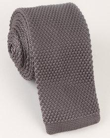 Black Lemon Plain Knitted Tie Grey