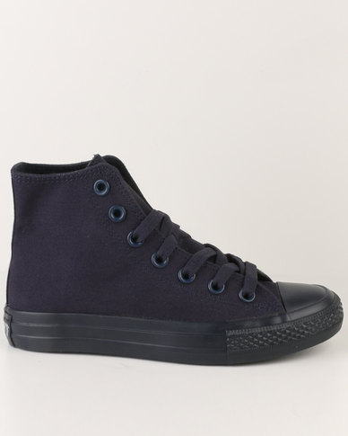 Soviet Viper Hi Casual Lace Up High Top Canvas Sneakers Navy Mono