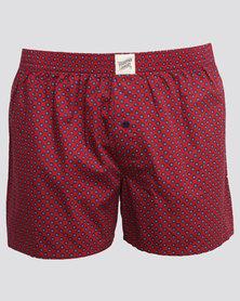Woodstock Laundry Boxer Shorts Red Indo Blue Circle