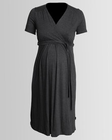 Cherry Melon Mock Wrap Dress Grey