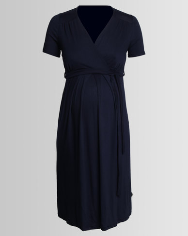 Cherry Melon Mock Wrap Dress Navy