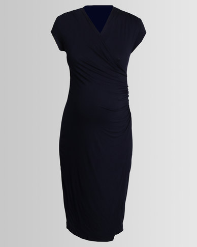 Cherry Melon Cocktail Wrap Dress Navy