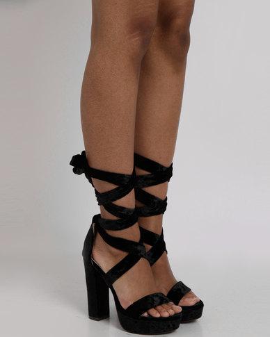 plum fire high heel platforms black  zando