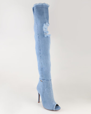 PLUM PLUM Denim Long Boots Blue visa payment cheap price 5qdbryM8v3