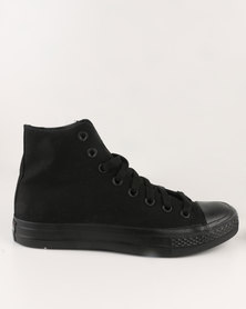 Soviet Viper Canvas Hi Cut Lace Up Black Mono