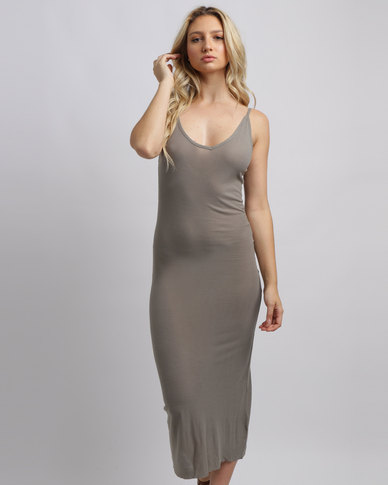 b30686f353ae Brave Soul V Neck Midi Dress With Low Back Light Khaki