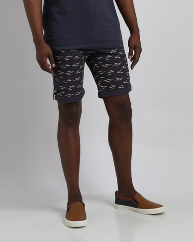 96a875230738 Bellfield Seagull Printed Shorts With Belt Navy