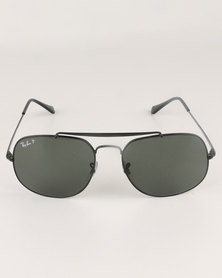 Ray-Ban Round Frame With Polarized Green Lens Black