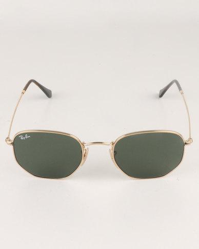 Ray-Ban Hexagonal Frame With Green Lens Gold-tone