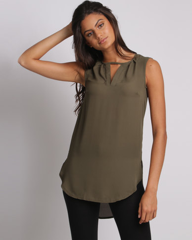 Utopia Henley Blouse Olive