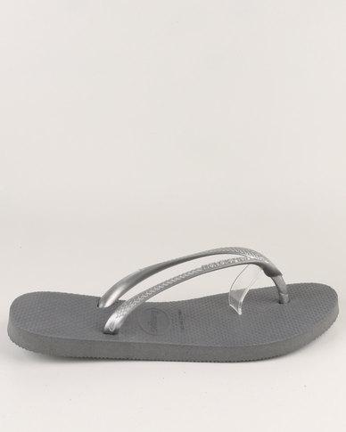 0015e727e Havaianas Slim Flip Flops Steel Grey