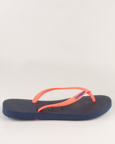 dac040c2242cac Havaianas Slim Logo Pop-Up Flip Flops Navy Blue