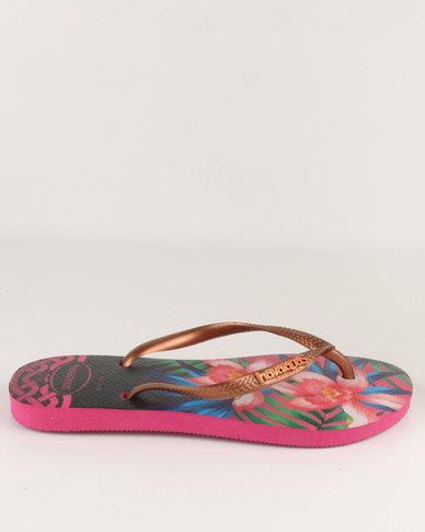 7e18242aa Havaianas Slim Tropical Flip Flops Rose | Zando